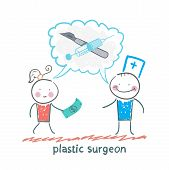 pic of plastic money  - plastic surgeon says about the operation and the patient is looking at the money - JPG