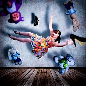 picture of shoes colorful  - Collage with girl flies across the room - JPG