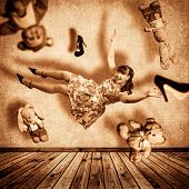 stock photo of shoes colorful  - Collage with girl flies about the room - JPG