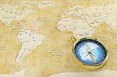 stock photo of continent  - Historical world map of the old paper with countries on the continent - JPG