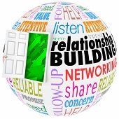 picture of trust  - Relationship Building words on a ball or sphere to illustrate networking and meeting new people in job - JPG
