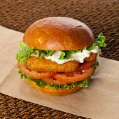 picture of lent  - Homemade Delicious Breaded Fish burger - JPG