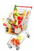 pic of grocery cart  - Shopping cart full with various groceries isolated on white  - JPG