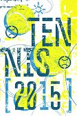 stock photo of silkscreening  - Tennis vintage grunge style poster - JPG