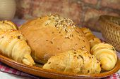 picture of bread rolls  - Bun with bread rolls in a closeup composition - JPG