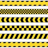 image of safety barrier  - Set of yellow Barrier Tapes - JPG