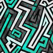 picture of maze  - urban blue maze seamless pattern with grunge effect - JPG