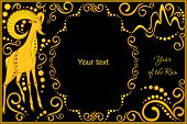picture of horoscope signs  - vector template with sign chinese horoscope in black and gold colors  - JPG
