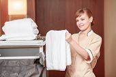 stock photo of trolley  - Clean towels - JPG