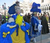 foto of venice carnival  - Characters in colorful costumes at the carnival in Venice - JPG