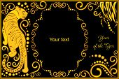 foto of horoscope signs  - vector template with sign chinese horoscope in black and gold colors  - JPG