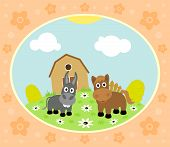 pic of donkey  - Farm background with funny horse and donkey - JPG