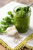 pic of kale  - Kale pesto sauce on white spoon green - JPG