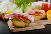 picture of smoked ham  - Wholemeal roll with smoked cheese cherry tomatoes and prague ham - JPG
