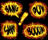 stock photo of shhh  - Fire bang boom pow shhh and exclamation mark  - JPG