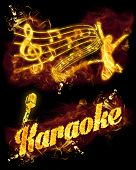 image of karaoke  - Fire karaoke set with text microphone and musical stave - JPG