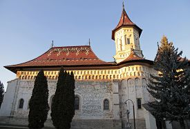 picture of suceava  - Orthodox Church in Monastery of Saint John the New, Suceava, Romania. Sunset light ** Note: Soft Focus at 100%, best at smaller sizes - JPG