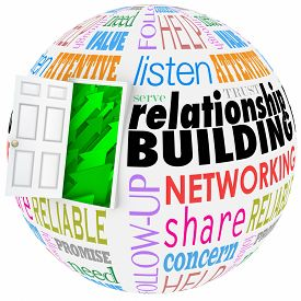 stock photo of clientele  - Relationship Building words on a ball or sphere to illustrate networking and meeting new people in job - JPG