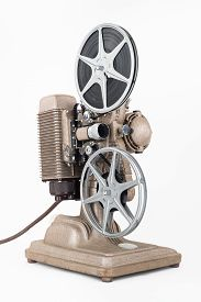 image of mm  - Angled view of Vintage 8 mm Movie Projector with Film Reels - JPG