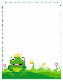 picture of cute frog  - Cute frog with a golden crown border  - JPG