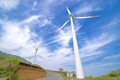 picture of wind-power  - Close up wind power plant under blue sky - JPG