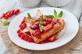 picture of french-toast  - French toast with berries and jam for breakfast - JPG