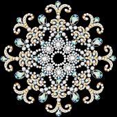 stock photo of precious stone  - illustration shiny snowflake made of precious stones on black background - JPG