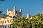 stock photo of neoclassical  - Low angle view of top side of neoclassical style landmark legislative palace of Uruguay located in the capital Montevideo - JPG