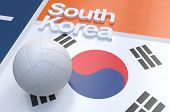 image of volleyball  - Flag of South Korea with championship volleyball ball on volleyball court - JPG