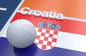 pic of volleyball  - Flag of Croatia with championship volleyball ball on volleyball court - JPG