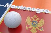 picture of volleyball  - Flag of Montenegro with championship volleyball ball on volleyball court - JPG