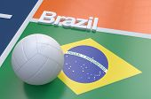picture of volleyball  - Flag of Brazil with championship volleyball ball on volleyball court - JPG