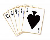 pic of flush  - Playing cards making a ace spades flush over a white background - JPG