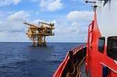 picture of offshore  - Offshore Production Platform For Petroleum Development view from crew boat - JPG