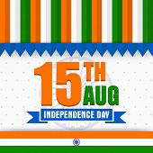 picture of indian independence day  - National tricolor greeting card design with stylish text 15th Aug on Ashoka Wheel background for Indian Independence Day celebration - JPG