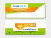 picture of indian independence day  - National tricolor Mega Sale website header or banner set with place holder for Indian Independence Day celebration - JPG
