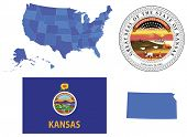 stock photo of usa map  - Vector illustration of Kansas state - JPG