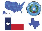 stock photo of usa map  - Vector Illustration of state Texas - JPG