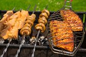 picture of grill  - Grilled salmon steaks on the grill - JPG