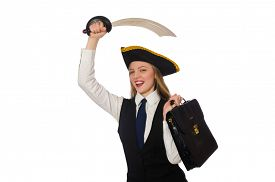 pic of pirate sword  - Pirate girl holding bag and sword isolated on white - JPG