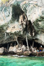 foto of swallow  - A cave in Koh Lao Liang Tai island in Andaman Sea near Phuket used for harvesting swallow - JPG