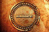 demography, 3D rendering, grunge metal stamp poster