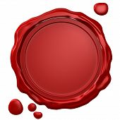 stock photo of wax seal  - Wax seal with blank field  - JPG