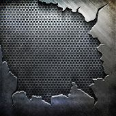 picture of ironworker  - crack metal background template  - JPG
