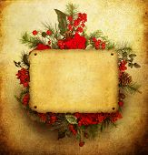 picture of christmas wreath  - Christmas wreath with paper sheet - JPG