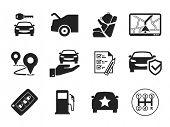 Car rental icons set poster