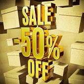 Gold 50 Percent Off Discount 3d Sign with Packaging Boxes Sale Banner Template, Special Offer 50% Of poster