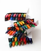 stock photo of spanking  - stack of brand spanking new crayons - JPG