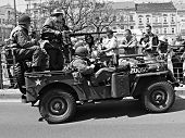 US army veteran in military vehicles - Pilsen City Czech Republic Europe - Anniversary ends second w