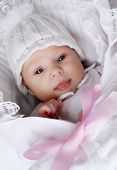 stock photo of newborn baby girl  - Closeup portrait of adorable baby - JPG